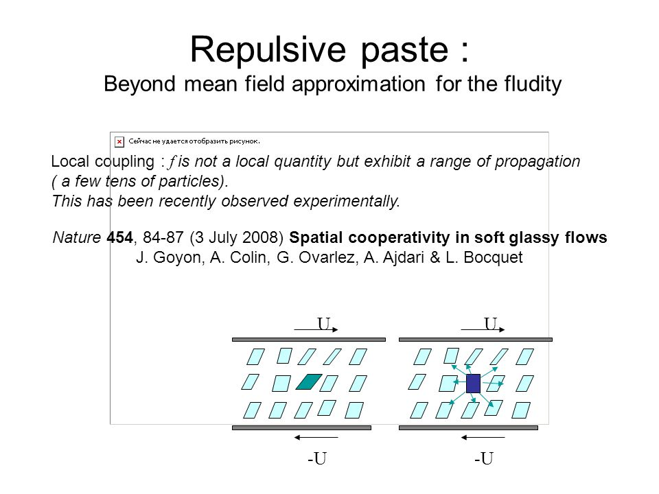 Repulsive paste : Beyond mean field approximation for the fludity Local coupling : f is not a local quantity but exhibit a range of propagation ( a few tens of particles).