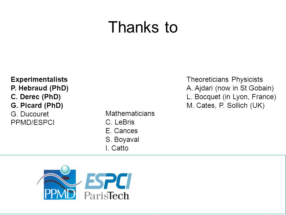 Thanks to Theoreticians Physicists A. Ajdari (now in St Gobain) L. Bocquet (in Lyon, France) M. Cates, P. Sollich (UK) Experimentalists P. Hebraud (Ph