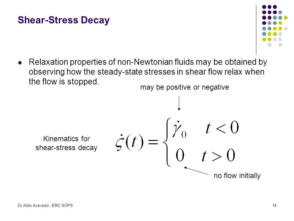 Shear-Stress Decay Relaxation properties of non-Newtonian fluids may be obtained by observing how the steady-state stresses in shear flow relax when t