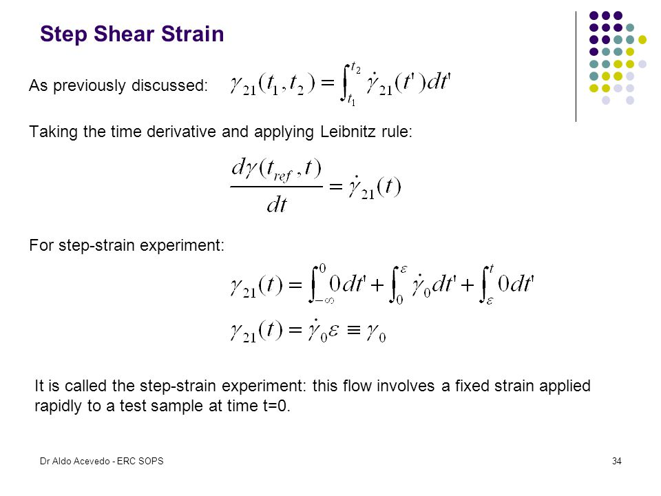 Step Shear Strain Taking the time derivative and applying Leibnitz rule: As previously discussed: For step-strain experiment: It is called the step-st