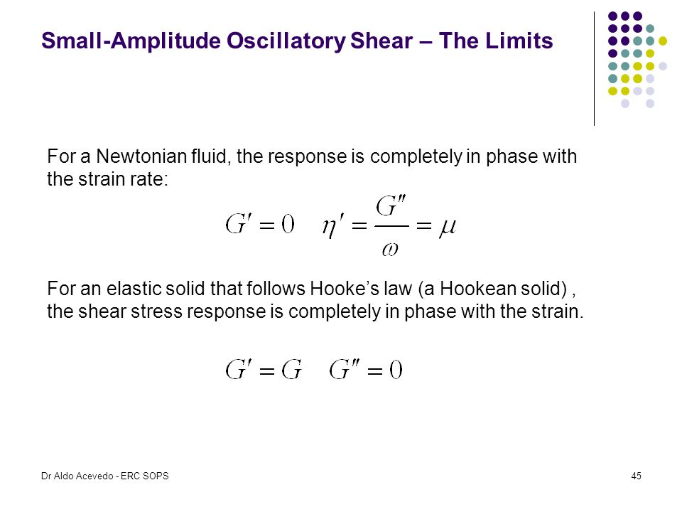 Small-Amplitude Oscillatory Shear – The Limits For a Newtonian fluid, the response is completely in phase with the strain rate: For an elastic solid t