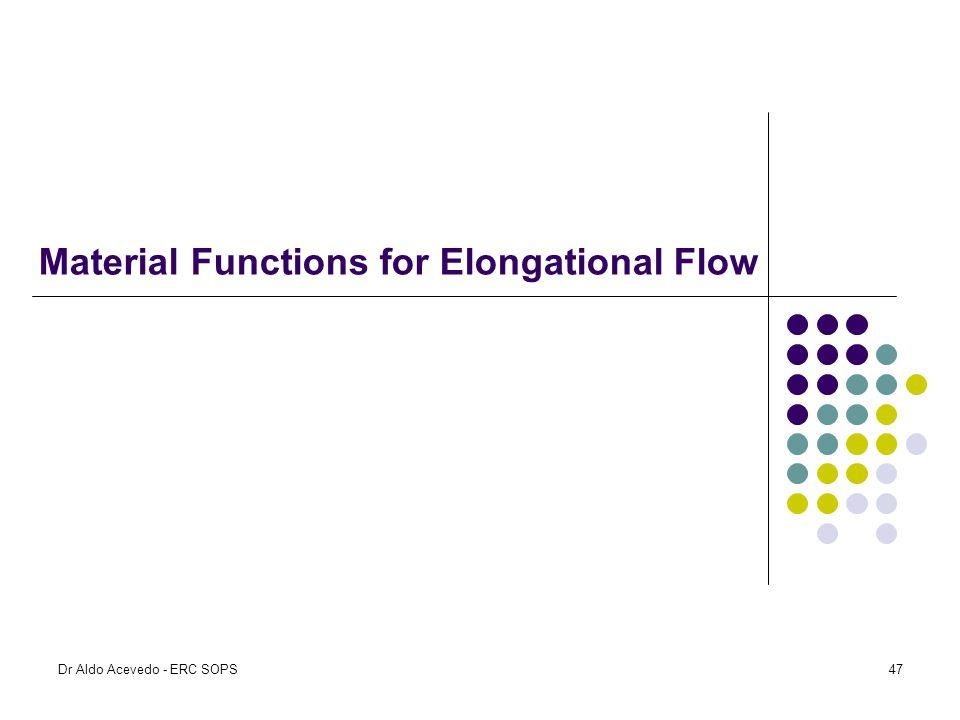 Material Functions for Elongational Flow Dr Aldo Acevedo - ERC SOPS47