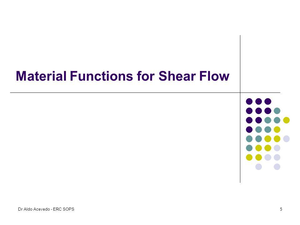 Material Functions for Shear Flow Dr Aldo Acevedo - ERC SOPS5
