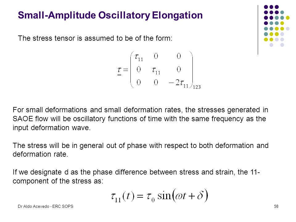 Small-Amplitude Oscillatory Elongation The stress tensor is assumed to be of the form: For small deformations and small deformation rates, the stresse