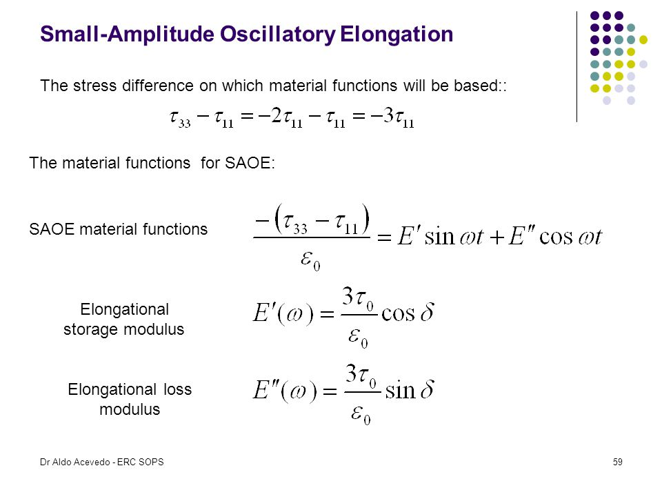 Small-Amplitude Oscillatory Elongation The stress difference on which material functions will be based:: The material functions for SAOE: SAOE materia