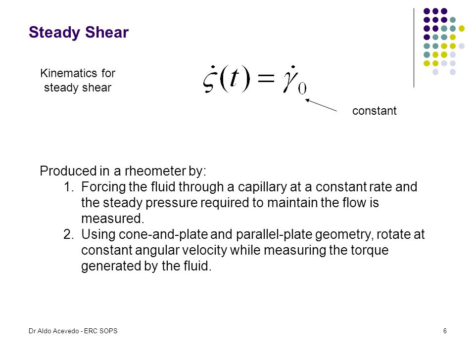Steady Shear Kinematics for steady shear constant Produced in a rheometer by: 1.Forcing the fluid through a capillary at a constant rate and the stead