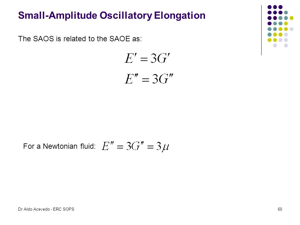 Small-Amplitude Oscillatory Elongation The SAOS is related to the SAOE as: For a Newtonian fluid: Dr Aldo Acevedo - ERC SOPS60
