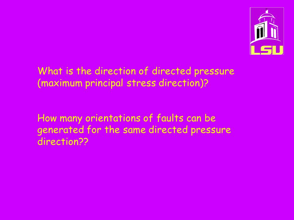 What is the direction of directed pressure (maximum principal stress direction)? How many orientations of faults can be generated for the same directe