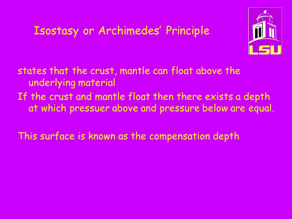 Isostasy or Archimedes' Principle states that the crust, mantle can float above the underlying material If the crust and mantle float then there exist