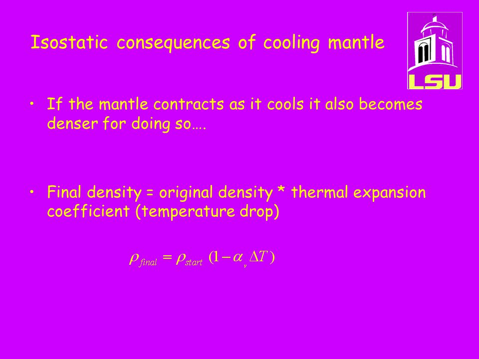 Isostatic consequences of cooling mantle If the mantle contracts as it cools it also becomes denser for doing so….
