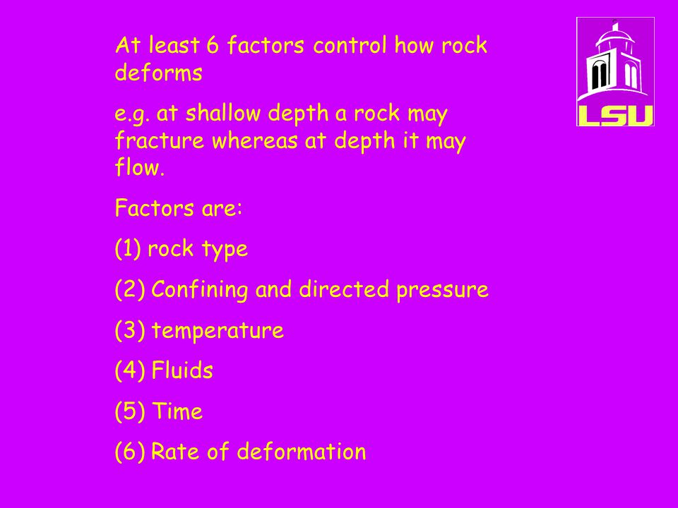 At least 6 factors control how rock deforms e.g. at shallow depth a rock may fracture whereas at depth it may flow. Factors are: (1) rock type (2) Con