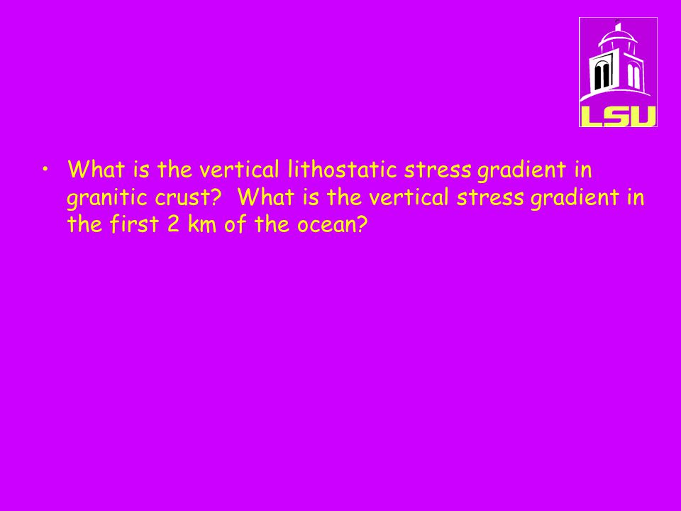 What is the vertical lithostatic stress gradient in granitic crust.
