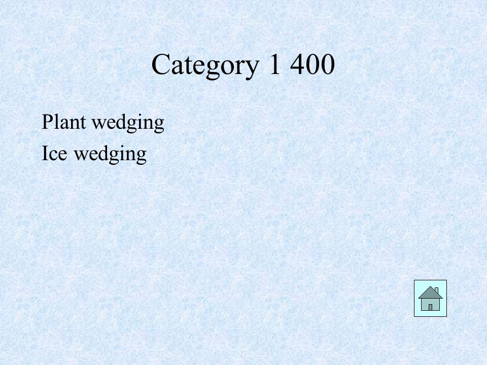 Category 1 400 Plant wedging Ice wedging