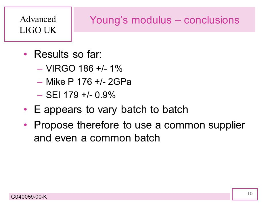 Advanced LIGO UK G040059-00-K 10 Young's modulus – conclusions Results so far: –VIRGO 186 +/- 1% –Mike P 176 +/- 2GPa –SEI 179 +/- 0.9% E appears to vary batch to batch Propose therefore to use a common supplier and even a common batch