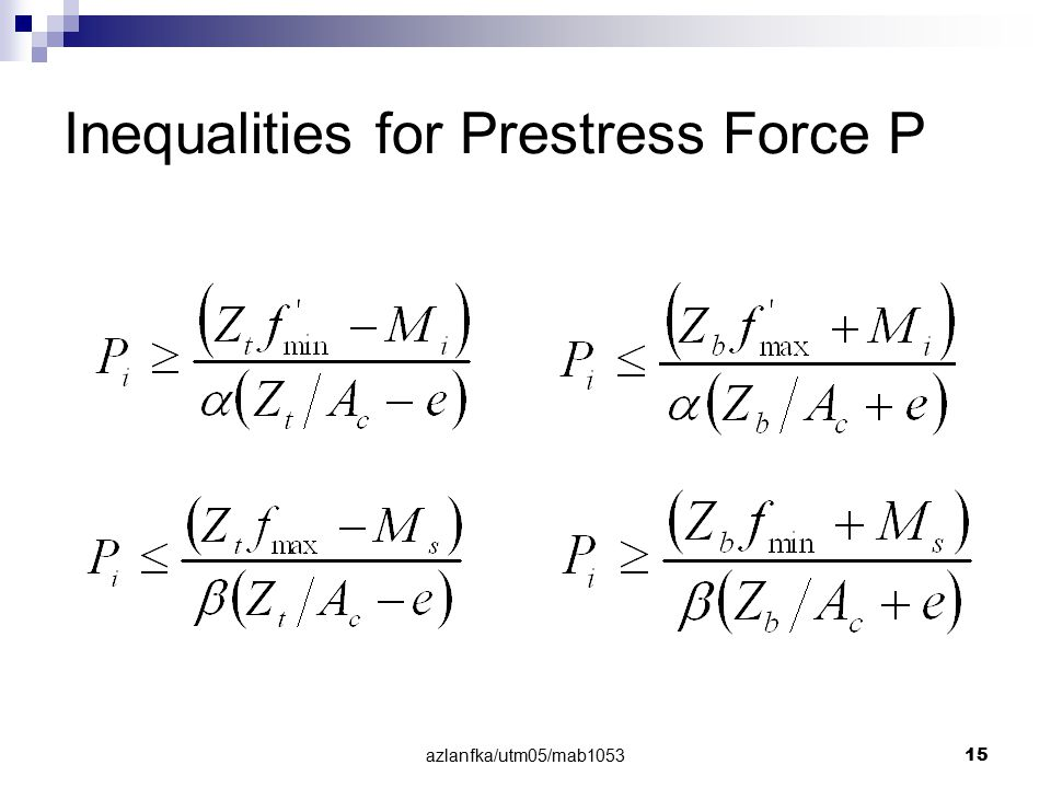 azlanfka/utm05/mab1053 15 Inequalities for Prestress Force P