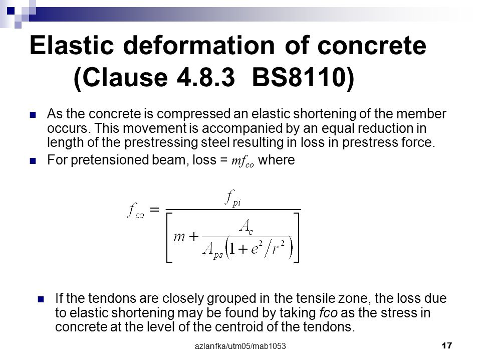 azlanfka/utm05/mab1053 17 Elastic deformation of concrete (Clause 4.8.3 BS8110) As the concrete is compressed an elastic shortening of the member occu