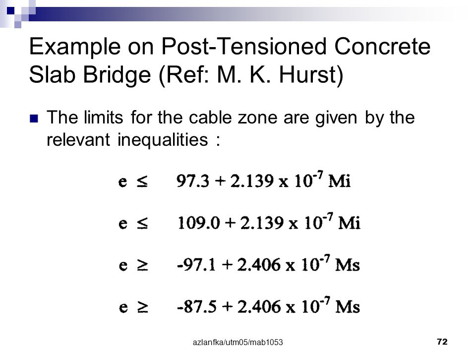 azlanfka/utm05/mab1053 72 Example on Post-Tensioned Concrete Slab Bridge (Ref: M. K. Hurst) The limits for the cable zone are given by the relevant in