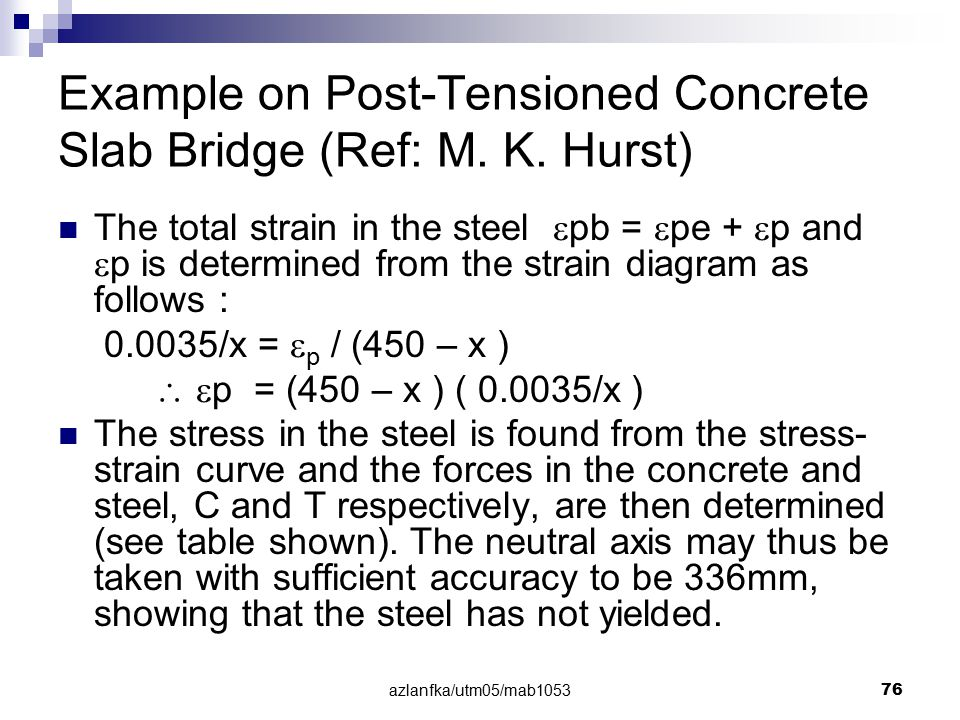 azlanfka/utm05/mab1053 76 Example on Post-Tensioned Concrete Slab Bridge (Ref: M. K. Hurst) The total strain in the steel  pb =  pe +  p and  p is