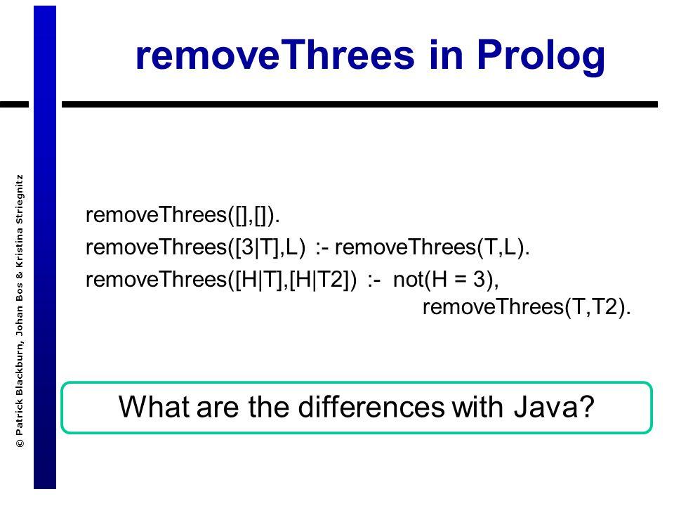© Patrick Blackburn, Johan Bos & Kristina Striegnitz removeThrees in Prolog removeThrees([],[]).