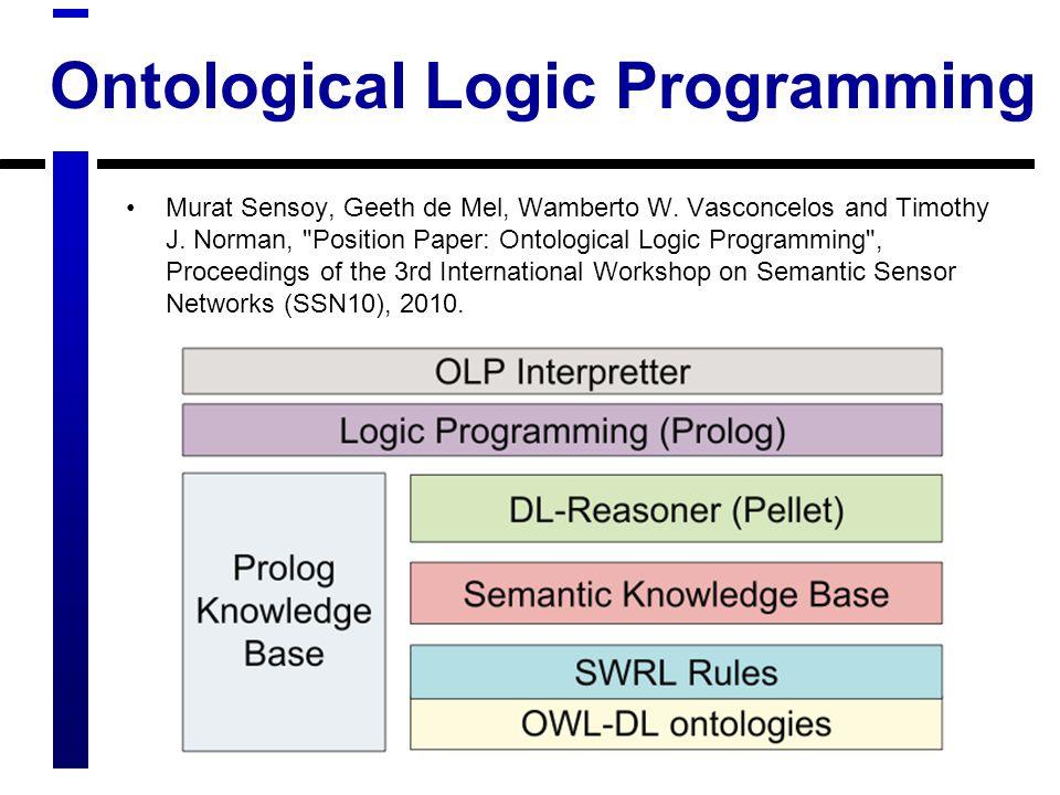 Ontological Logic Programming Murat Sensoy, Geeth de Mel, Wamberto W.