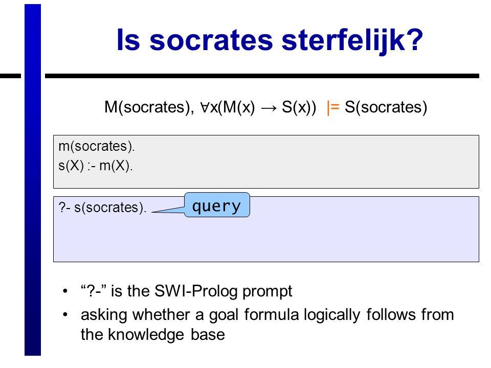 Is socrates sterfelijk. m(socrates). s(X) :- m(X).