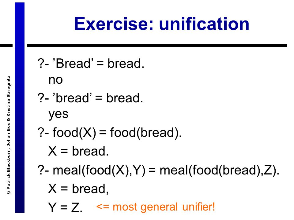 © Patrick Blackburn, Johan Bos & Kristina Striegnitz Exercise: unification ?- 'Bread' = bread.