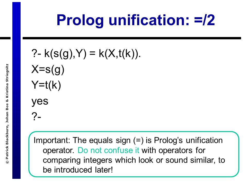 © Patrick Blackburn, Johan Bos & Kristina Striegnitz - k(s(g),Y) = k(X,t(k)).