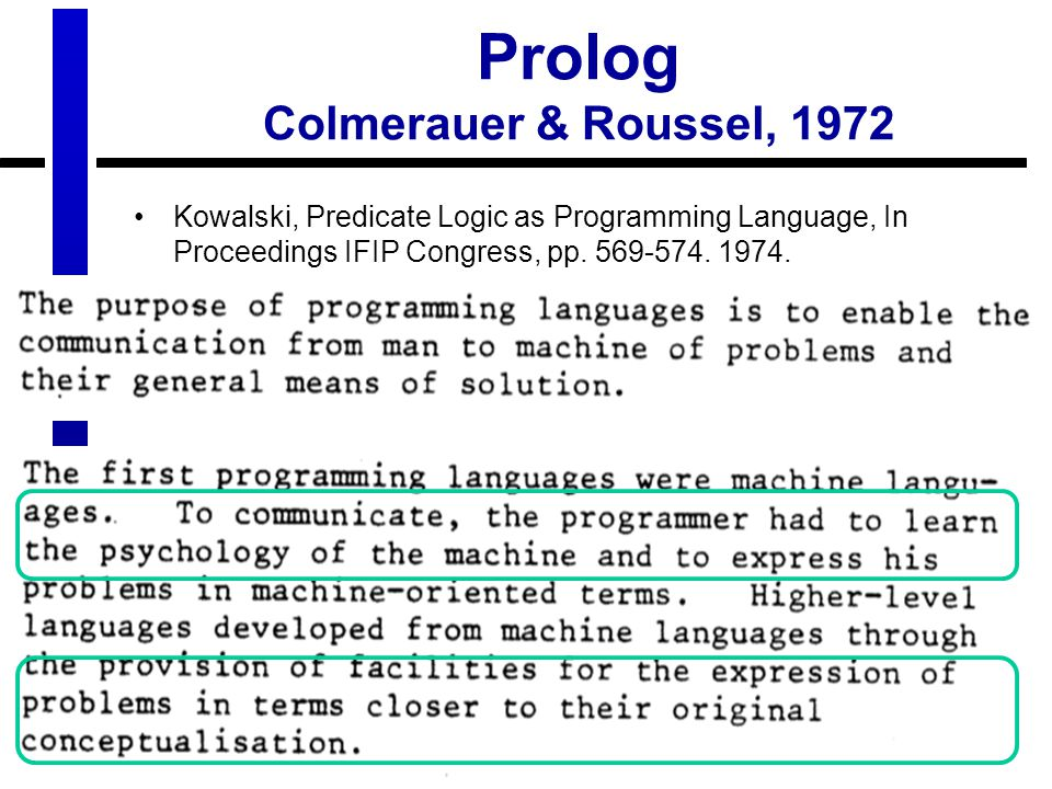 Prolog Colmerauer & Roussel, 1972 Kowalski, Predicate Logic as Programming Language, In Proceedings IFIP Congress, pp.
