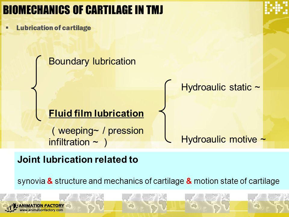  Lubrication of cartilage BIOMECHANICS OF CARTILAGE IN TMJ Boundary lubrication Fluid film lubrication ( weeping~ / pression infiltration ~ ) Hydroau