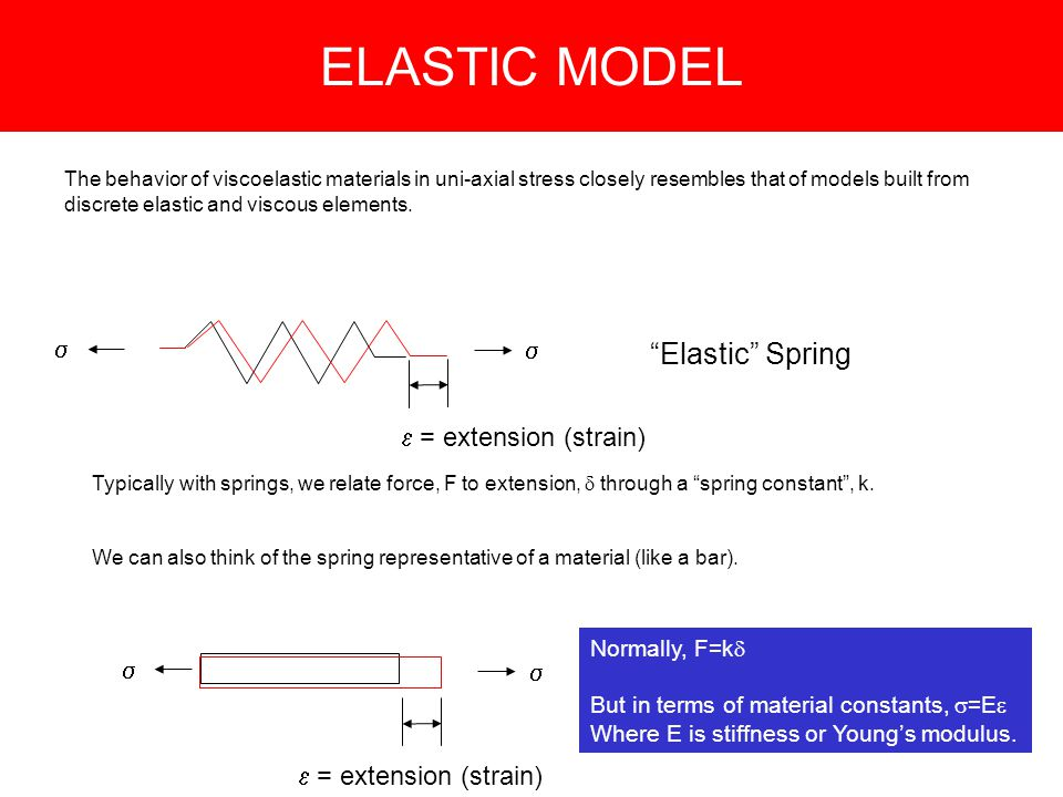 ELASTIC MODEL Elastic Spring The behavior of viscoelastic materials in uni-axial stress closely resembles that of models built from discrete elastic and viscous elements.