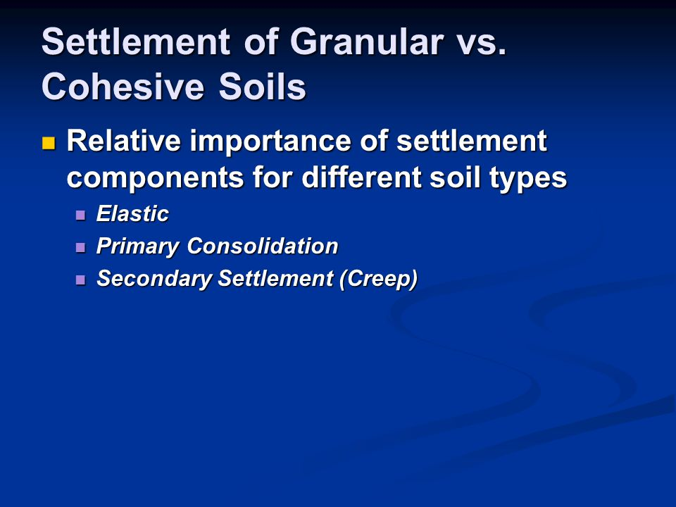 Settlement of Granular vs. Cohesive Soils Relative importance of settlement components for different soil types Relative importance of settlement comp