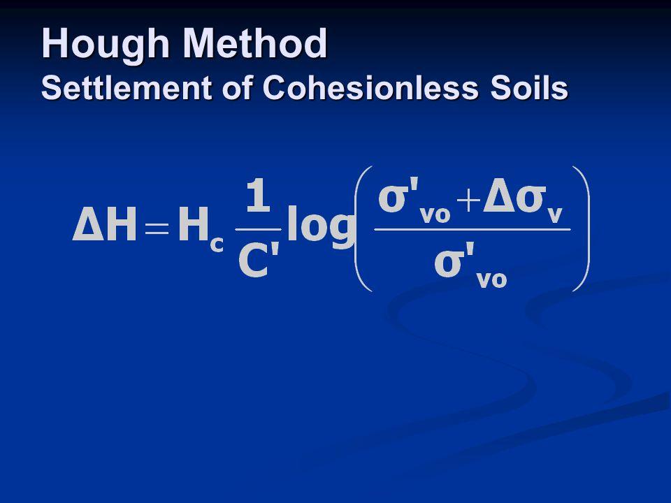 Hough Method Settlement of Cohesionless Soils