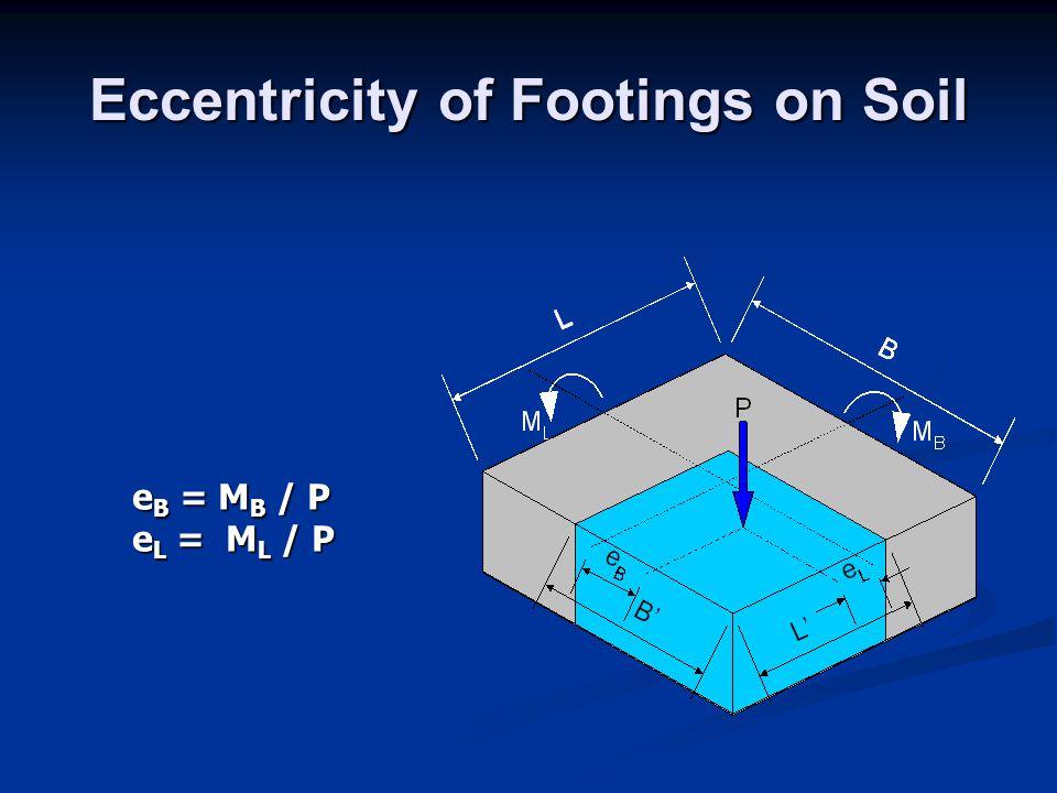 Eccentricity of Footings on Soil e B = M B / P e L = M L / P