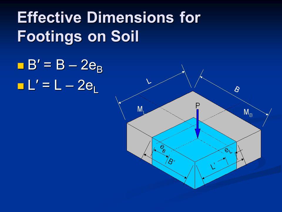 Effective Dimensions for Footings on Soil B′ = B – 2e B B′ = B – 2e B L′ = L – 2e L L′ = L – 2e L