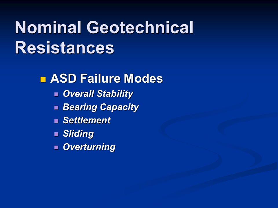 Nominal Geotechnical Resistances ASD Failure Modes ASD Failure Modes Overall Stability Overall Stability Bearing Capacity Bearing Capacity Settlement Settlement Sliding Sliding Overturning Overturning