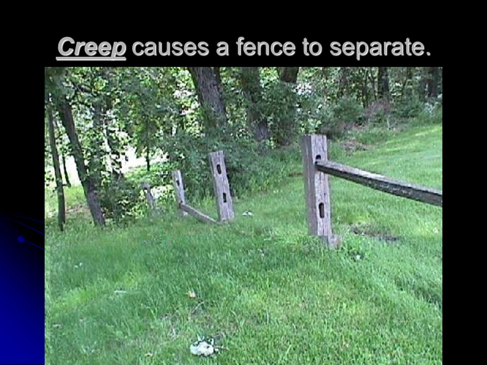 Creep causes a fence to separate.