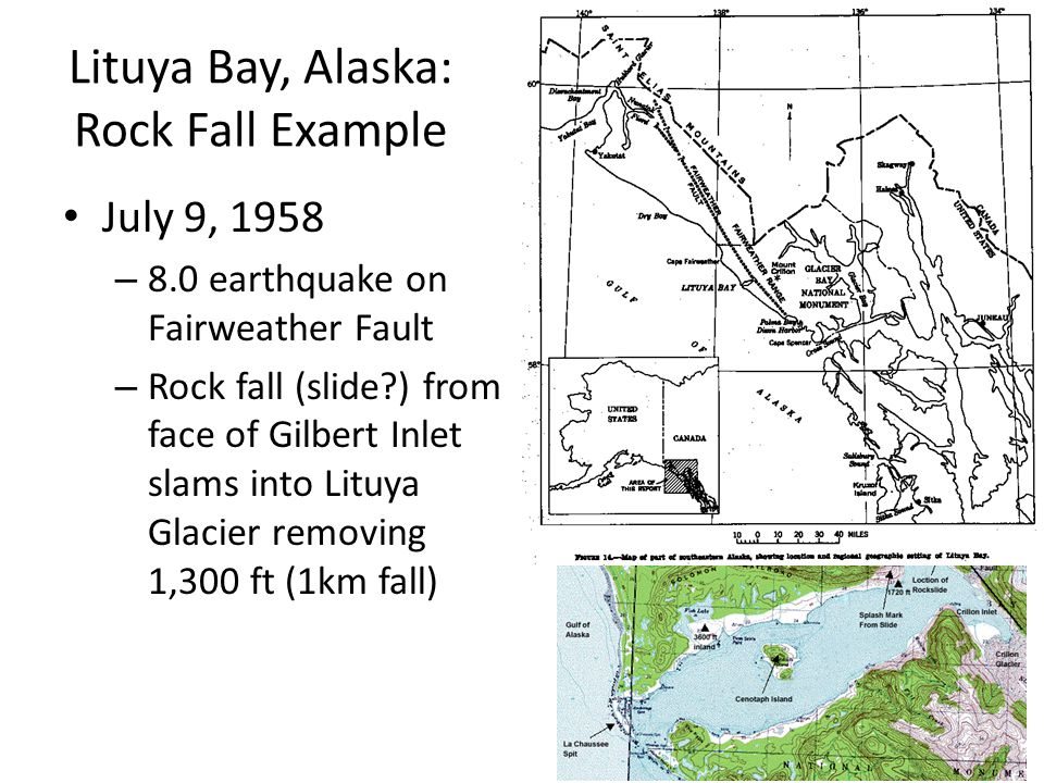 Lituya Bay, Alaska: Rock Fall Example July 9, 1958 – 8.0 earthquake on Fairweather Fault – Rock fall (slide?) from face of Gilbert Inlet slams into Lituya Glacier removing 1,300 ft (1km fall)