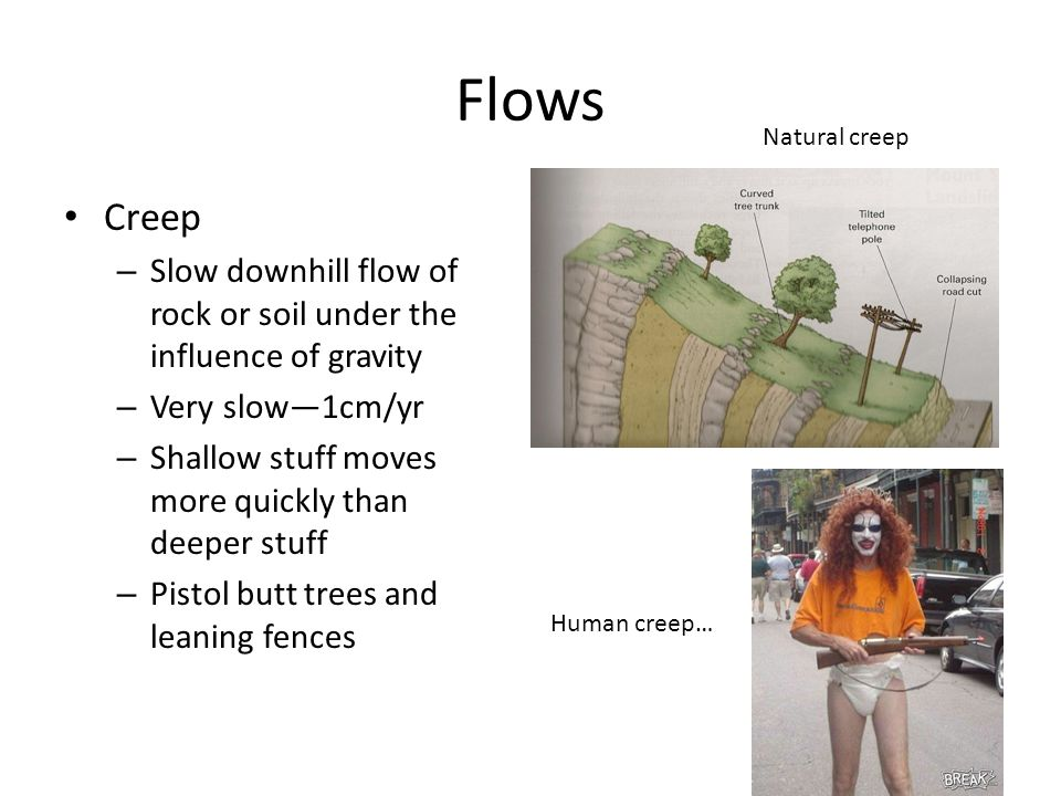 Flows Creep – Slow downhill flow of rock or soil under the influence of gravity – Very slow—1cm/yr – Shallow stuff moves more quickly than deeper stuff – Pistol butt trees and leaning fences Natural creep Human creep…