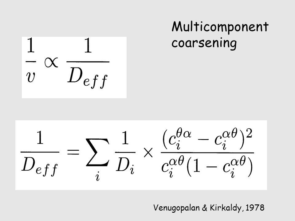 Multicomponent coarsening Venugopalan & Kirkaldy, 1978