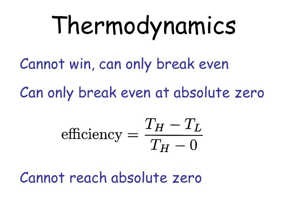 Thermodynamics Cannot win, can only break even Cannot reach absolute zero Can only break even at absolute zero