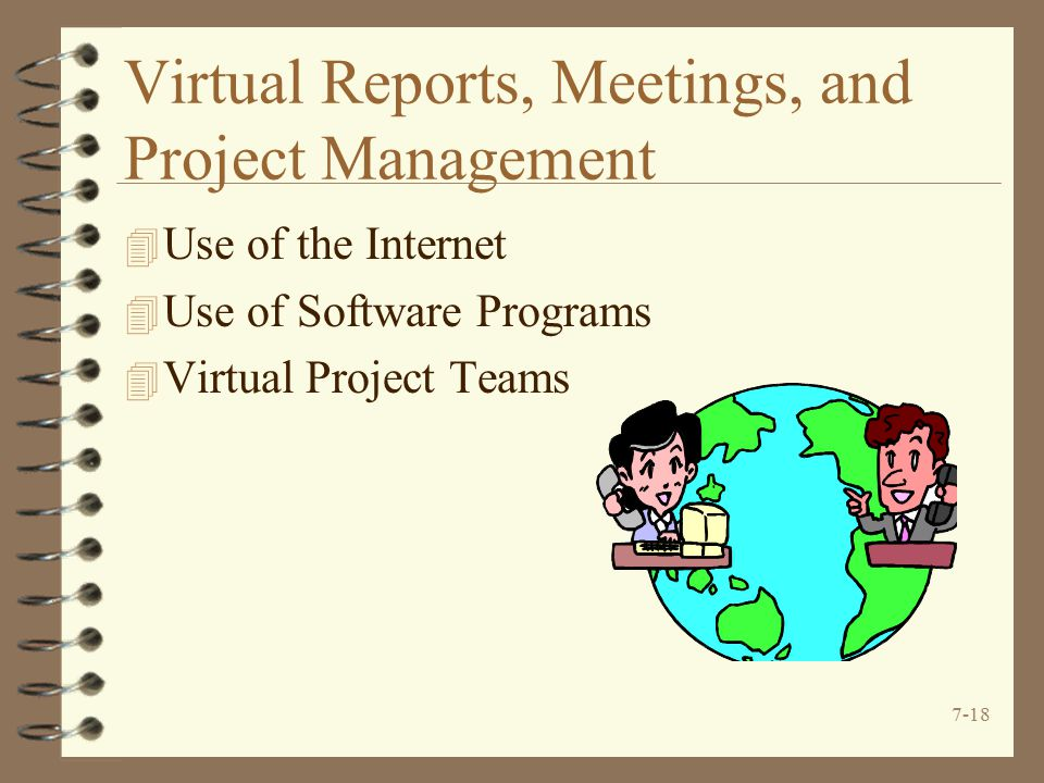 7-18 Virtual Reports, Meetings, and Project Management 4 Use of the Internet 4 Use of Software Programs 4 Virtual Project Teams