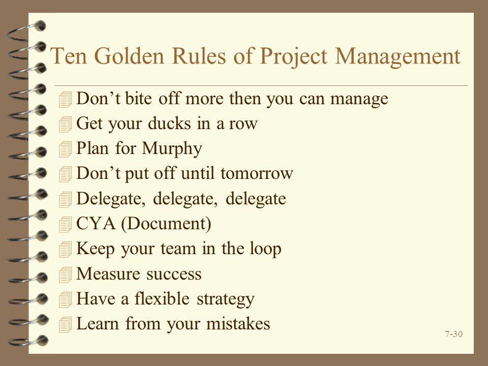 7-30 Ten Golden Rules of Project Management 4 Don't bite off more then you can manage 4 Get your ducks in a row 4 Plan for Murphy 4 Don't put off until tomorrow 4 Delegate, delegate, delegate 4 CYA (Document) 4 Keep your team in the loop 4 Measure success 4 Have a flexible strategy 4 Learn from your mistakes