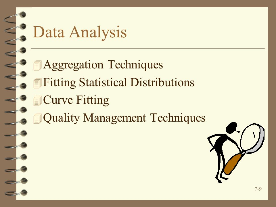 7-9 Data Analysis 4 Aggregation Techniques 4 Fitting Statistical Distributions 4 Curve Fitting 4 Quality Management Techniques