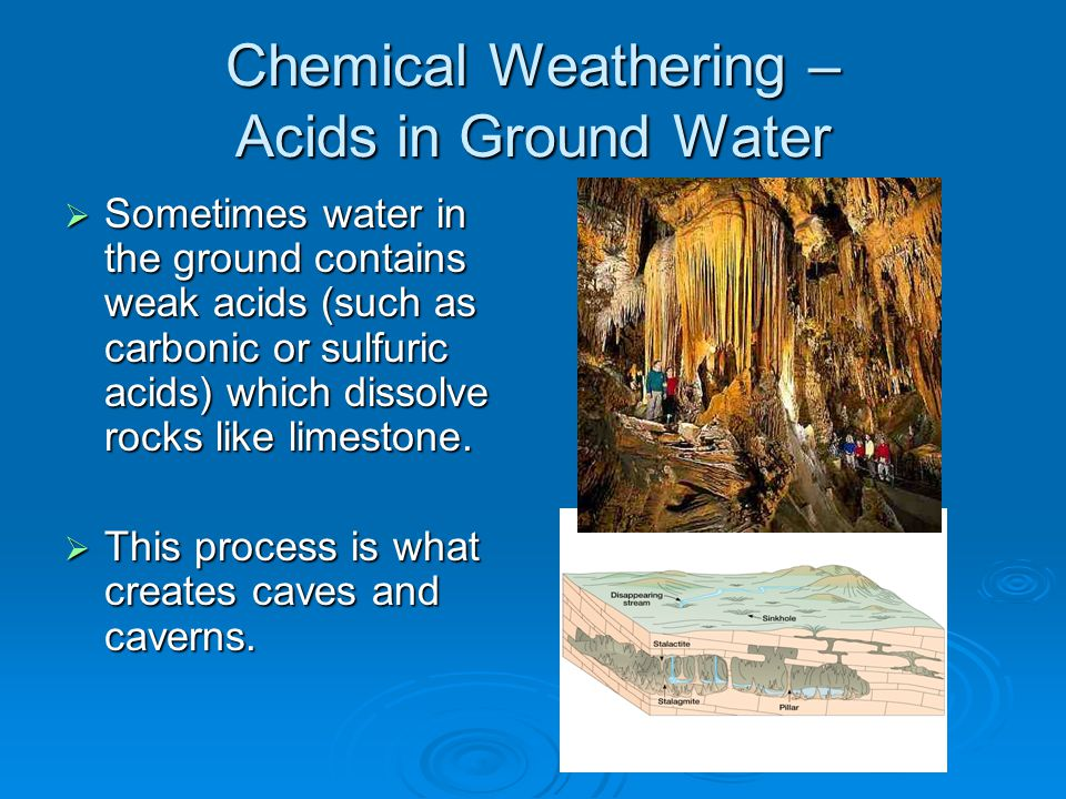 Chemical Weathering – Acids in Ground Water  Sometimes water in the ground contains weak acids (such as carbonic or sulfuric acids) which dissolve rocks like limestone.