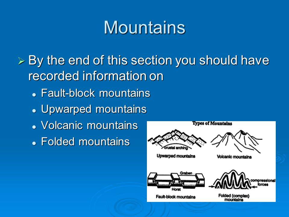 Mountains  By the end of this section you should have recorded information on Fault-block mountains Fault-block mountains Upwarped mountains Upwarped mountains Volcanic mountains Volcanic mountains Folded mountains Folded mountains