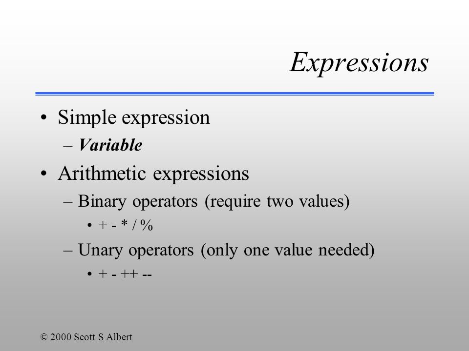 © 2000 Scott S Albert Expressions Simple expression –Variable Arithmetic expressions –Binary operators (require two values) + - * / % –Unary operators (only one value needed) + - ++ --