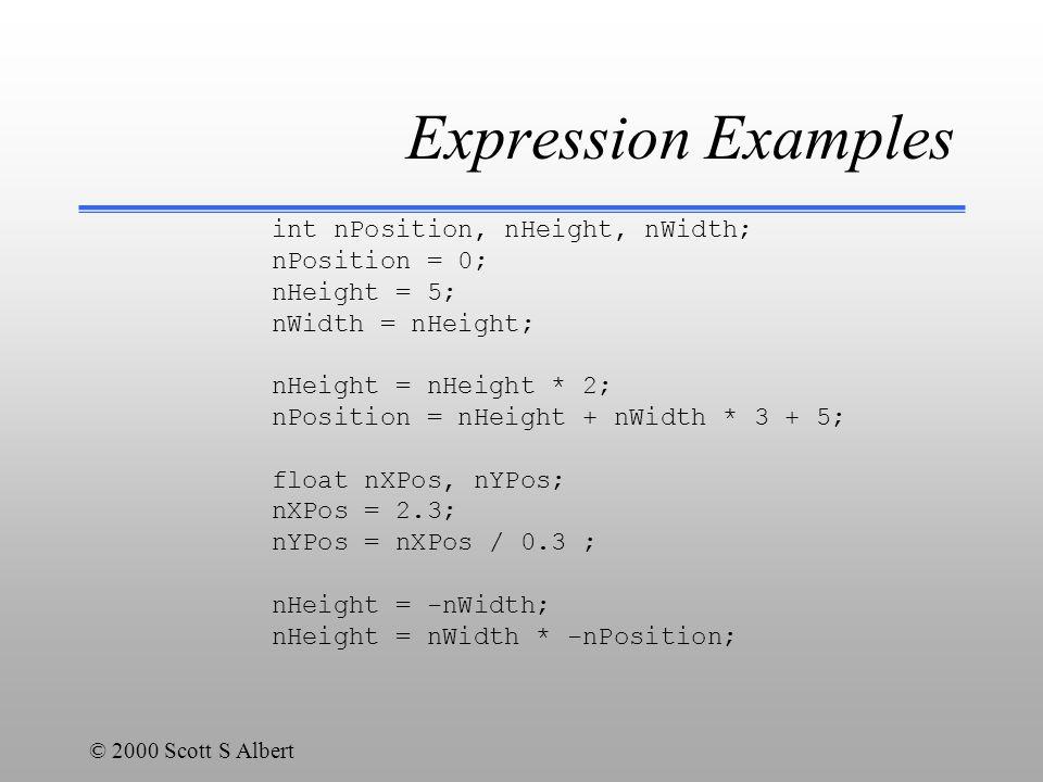 © 2000 Scott S Albert Expression Examples int nPosition, nHeight, nWidth; nPosition = 0; nHeight = 5; nWidth = nHeight; nHeight = nHeight * 2; nPositi