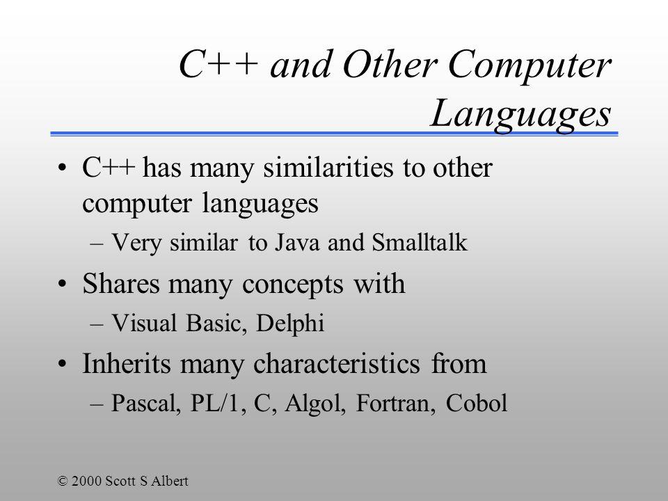 © 2000 Scott S Albert Examples to run int nCount = 0; int nValue = 0; nValue = nCount++; cout<< NCount is +nCount+ nValue is << nValue<<endl; nValue = ++nCount; cout<< NCount is +nCount+ nValue is << nValue<<endl; nCount++; ++nCount; nValue = nValue + 1; nCount = nValue--; nCount = nValue - 1;