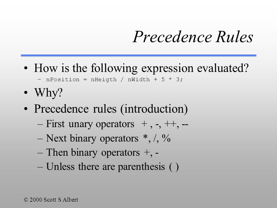 © 2000 Scott S Albert Precedence Rules How is the following expression evaluated.
