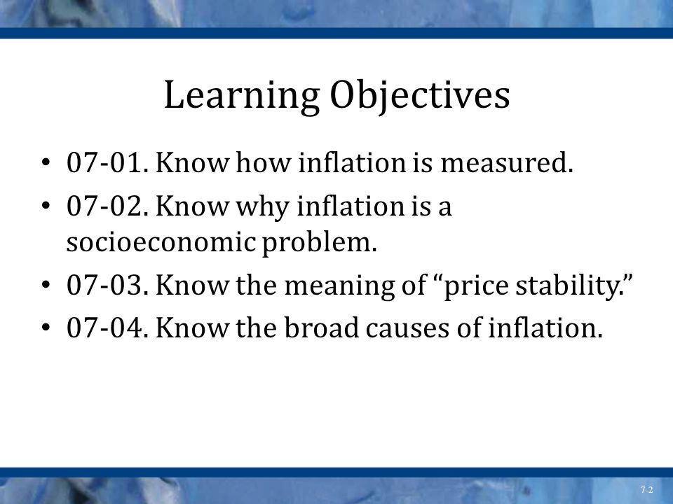 7-2 Learning Objectives 07-01. Know how inflation is measured.